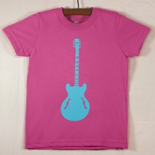 Fuchsia T Shirt with Blue Guitar