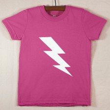 Fuchsia T Shirt with White Lightning Bolt