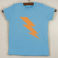 Baby Blue T Shirt with Neon Orange Lightning Bolt