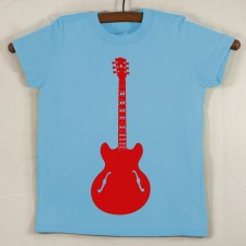 Baby Blue T Shirt with Red Guitar