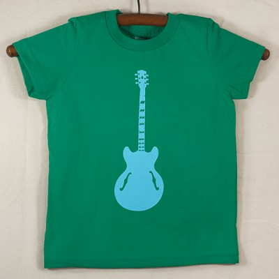 Kelly Green T Shirt with Blue Guitar