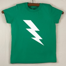 Kelly Green T Shirt with White Lightning Bolt