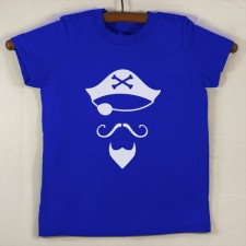 Lapis Blue T Shirt with White Pirate
