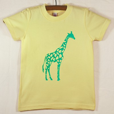 Lemon Yellow T Shirt with Green Giraffe
