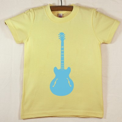 Lemon Yellow T Shirt with Blue Guitar