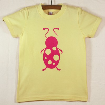 Lemon Yellow T Shirt with Magenta Lady Bug