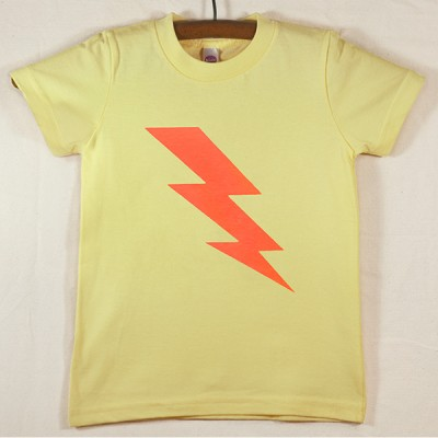 Lemon Yellow T Shirt with Neon Orange Lightning Bolt