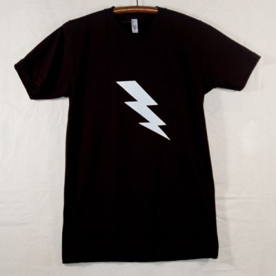 Unisex Adult Black T Shirt with White Lightning Bolt