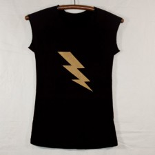 Women's Black Cap Sleeve T Shirt with Gold Lightning Bolt