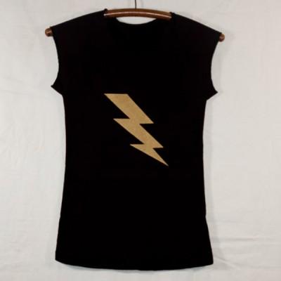 Women's Black Cap Sleeve T Shirt with Gold Lightning Bolt