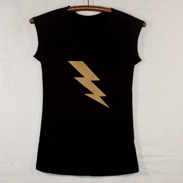 cheap for discount arriving select for best Women's Black Cap Sleeve T Shirt with Gold Lightning Bolt ...