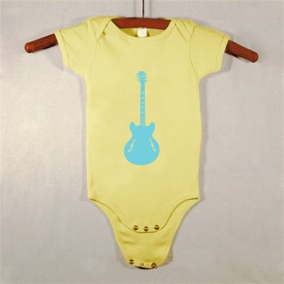 Yellow Onesie with Blue Guitar