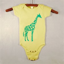 Yellow Onesie with Green Giraffe