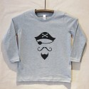 Grey Long Sleeve Pirate T Shirt