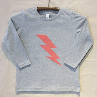 Grey Long Sleeve Lightning Bolt T Shirt