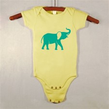 Yellow Onesie with Green Elephant