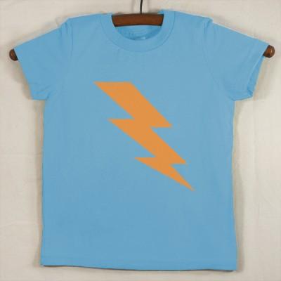 Baby Blue T Shirt with Neon Orange Lightning Bolt