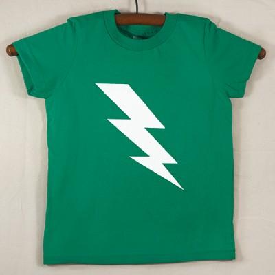 Kelly Green T Shirt with White Lightning Bolt