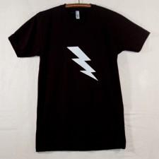 Unisex Adult Black T Shirt with White Lightning Bolt