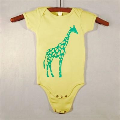 Yellow Onesie with Green Giraffe
