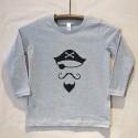 Grey Long Sleeve Pirate T Shirt