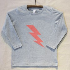 Grey Long Sleeve Lightning Bolt T Shirt